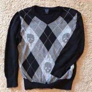 Baby Gap v-neck argyle and skull knit sweater